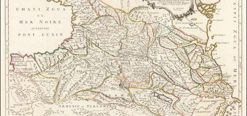 სამეფოებად დაშლილი ქვეყანა, სახელწოდებით Georgie – ვახუშტი ბატონიშვილის ფრანგული რუკა
